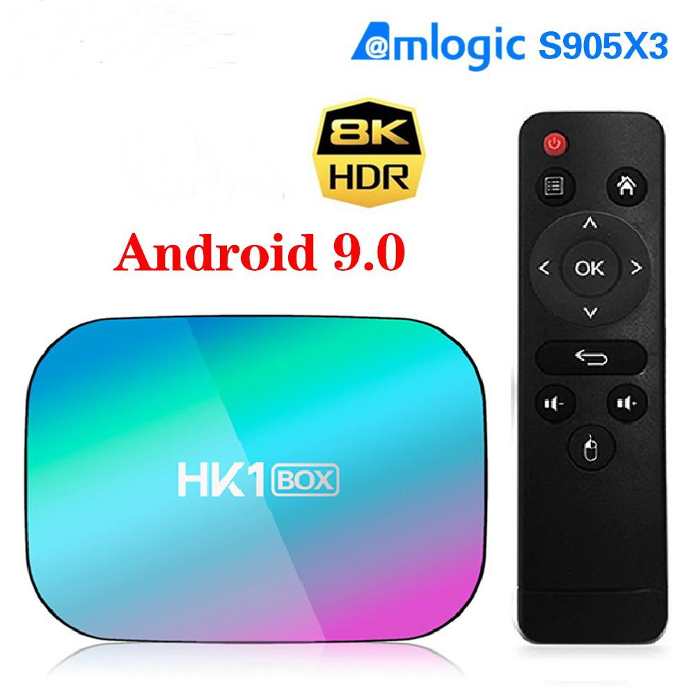 HK1 مربع 8K 4GB 128GB TVBox Android 9 Amlogic S905X3 1000M Wifi 4K GooglePlay Set Topbox