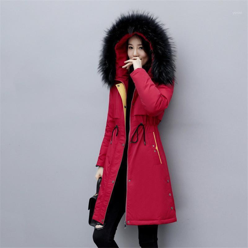 Down Cotton Jacket Women Medid Long Coat 2019 NUEVO Invierno Gran tamaño Parkas Down Cotton Abrigo Moda Cintura adelgazante Outwear Jiu1601
