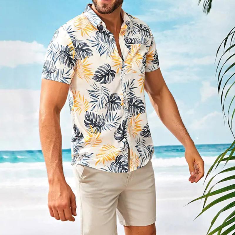 Mens Camiseta Verão Moda Fashion Collar Strip Cópia Floral Manga Curta Casual Masculino Plus Size Loose Casual Camisa Havaiana Top # 451