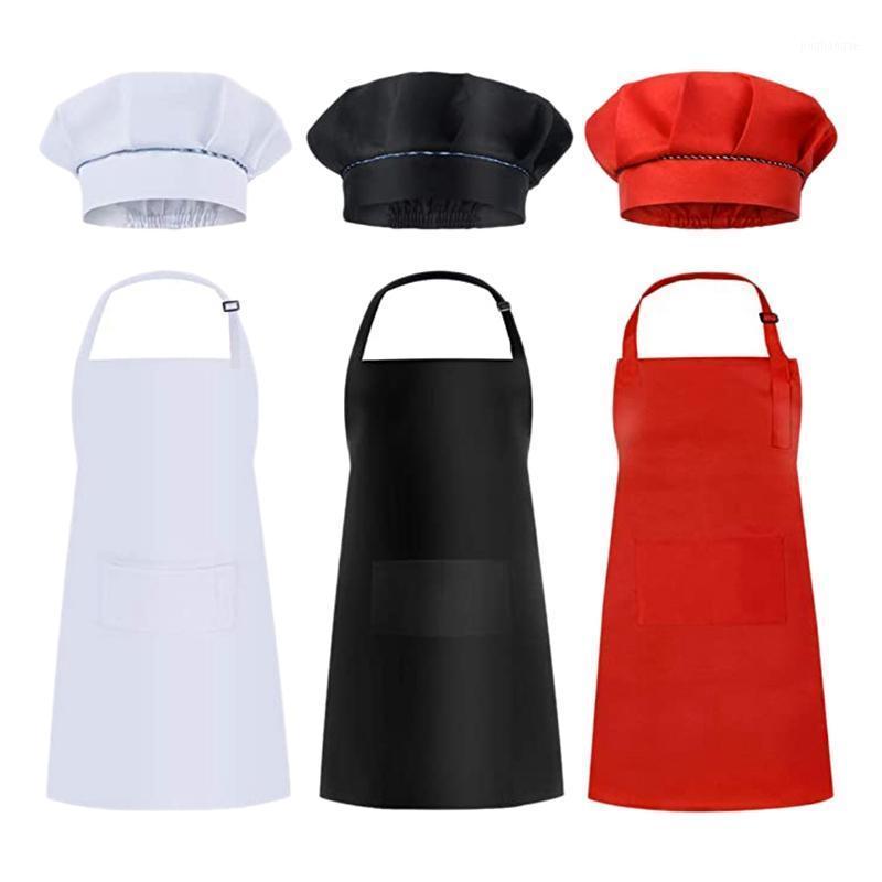 6 Adet Çocuklar Önlükleri ve Şapka Seti Çocuk Şef Önlükleri Pişirme Pişirme Boyama Beyaz + Siyah + Red1