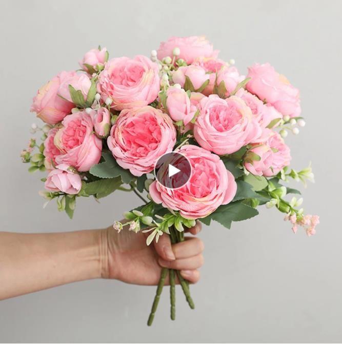 حار بيع 1PCS / 30CM الوردي الحرير برعم الفاوانيا باقة الزهور الاصطناعية 5 الرأس الكبير 4 الصغيرة زفاف العروس الديكور المنزلي Artifi