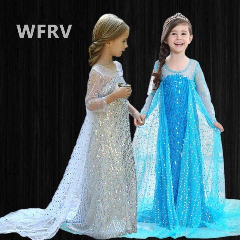 2 девушки одеваются Эльза 2 Косплей платья Хэллоуин принцессы платье для девушки Fancy детей платья 10T 200930