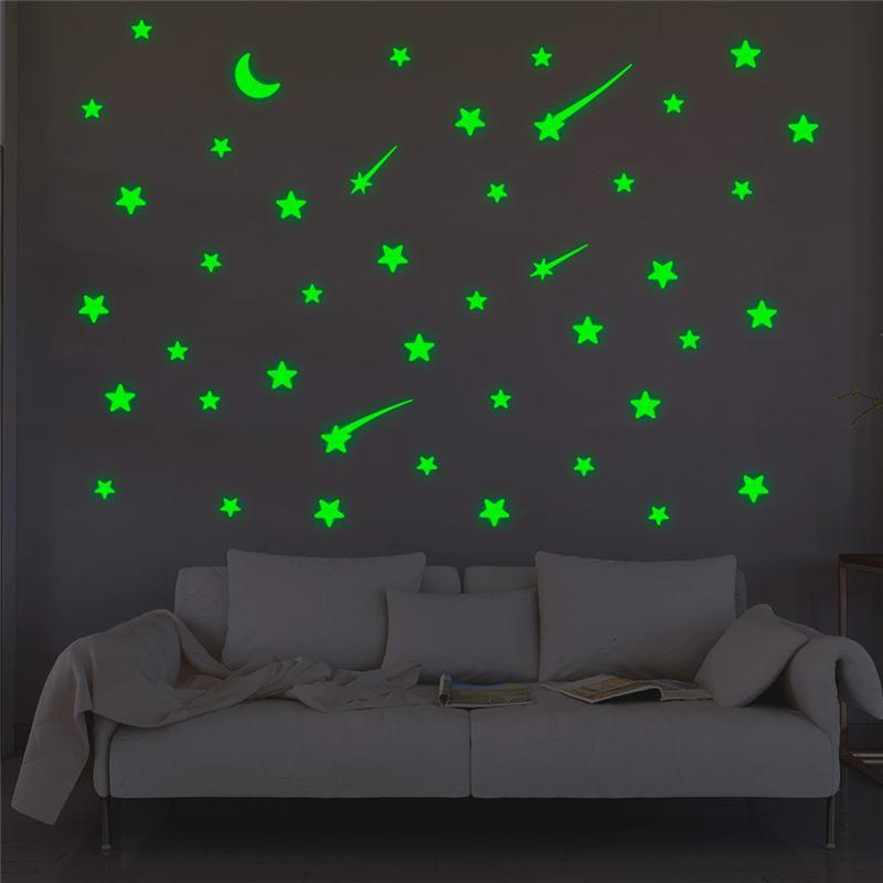 Метеор Креативный звезды Луна Luminous на наклейки для спальни украшения дома зеленое свечение в темноте Флуоресцентные наклейки для стен 1tmi