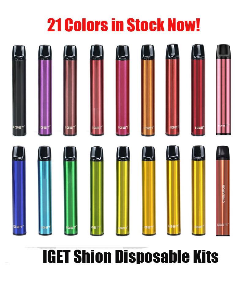 100% Original IGET Shion Dispositivo di pod monouso 600puffs 400mAh 2.4ml Premilled Portable Vuoto Vuoto Stick Penna Penna Bar Max Air Kit Genuine