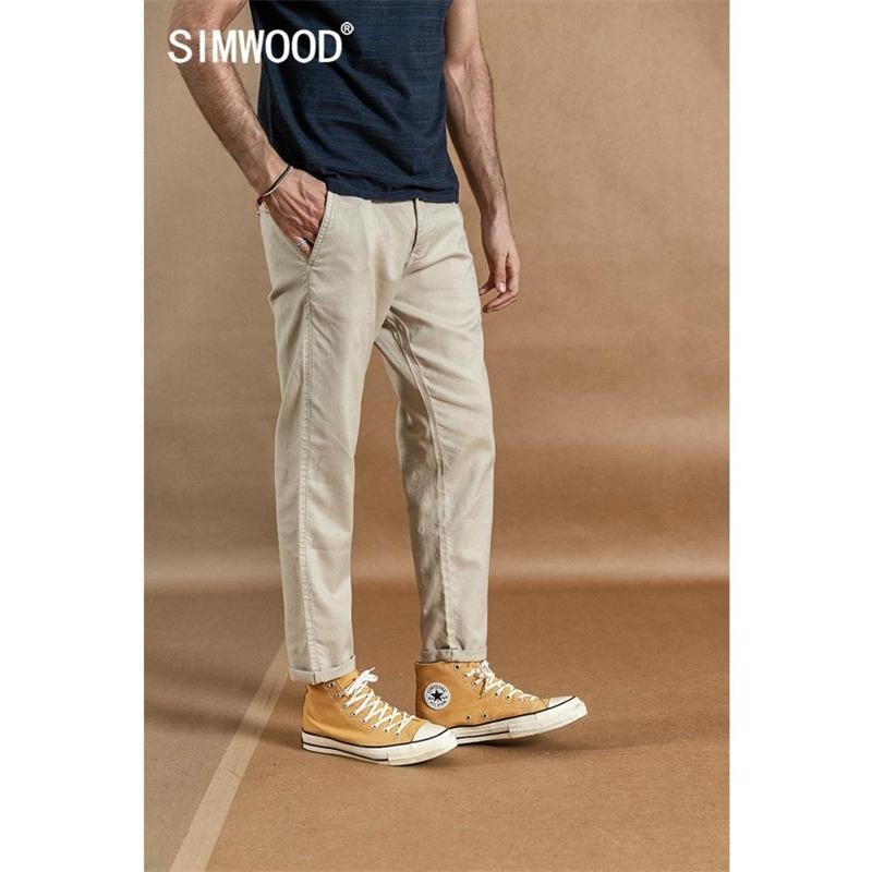 Simwood Spring новая новая лодыжка брюки мужские хлопковые льняные повседневные брюки плюс размер высокого качества бренд одежда 190359 201109