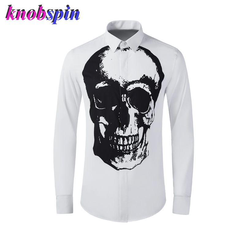 Cabeza de cráneo Camisa para hombre impreso Estilo punk Slim Casual Business Mascule Vestido Camisas Calidad de marca CAMISAS MASCULINA PLUS TAMAÑO M-4XL Q0109