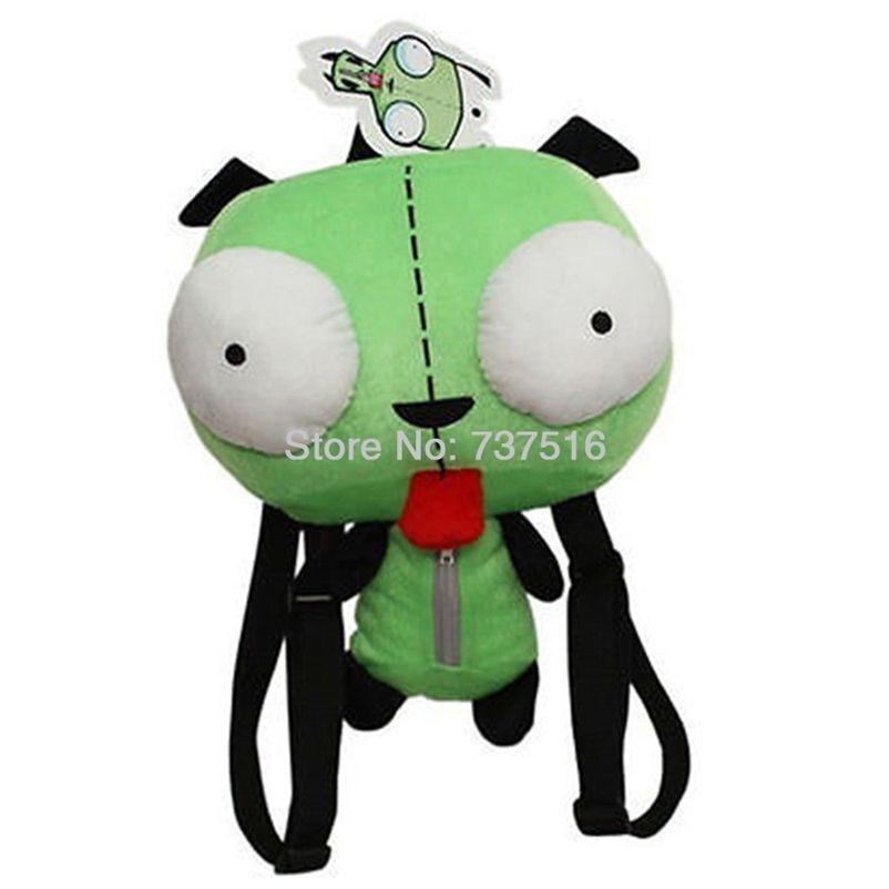 Novo Alienígena Invader Zim 3D Eyes Robô Gir Bonito Phusk Mochila De Pelúcia Green Saco Xmas Presente 14 polegadas 201222