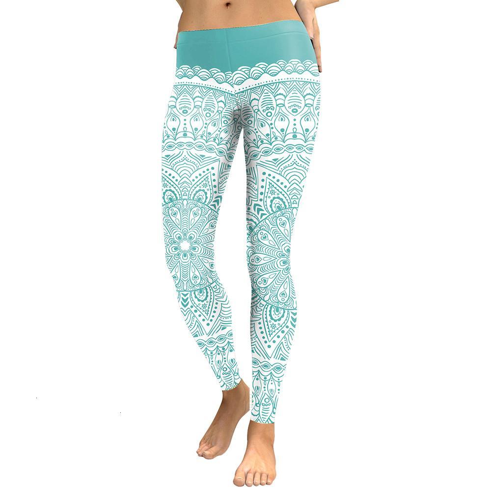 Kadınlar Tozluklar Yeni Geliş Kadınlar 2019 Tozluklar Yuvarlak Ombre Çiçek Dijital Baskı Spor Leggins Yeşil Artı boyutu Egzersiz Pantolon
