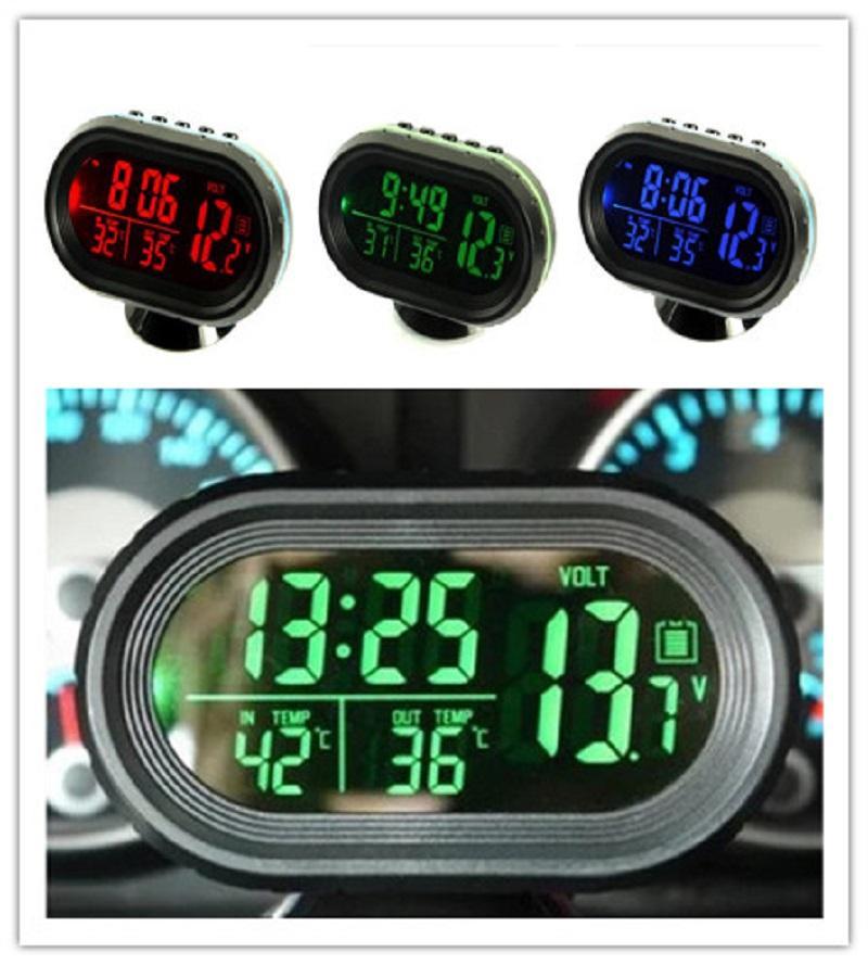 Hot Luminous Car relógio de quartzo Car Relógio Termômetro Hygromete carro decoração