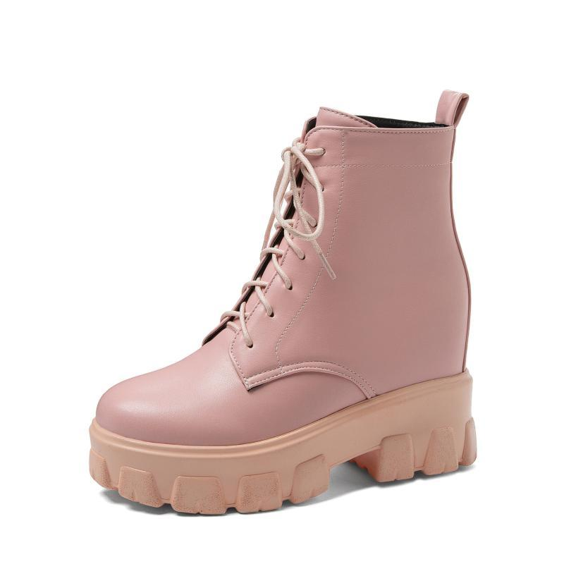 Lady Boots Shoes Boots-Women Round Toe Winter Footwear Luxury Designer Rubber Rock 2020 Low Fashion Autumn Mid Calf