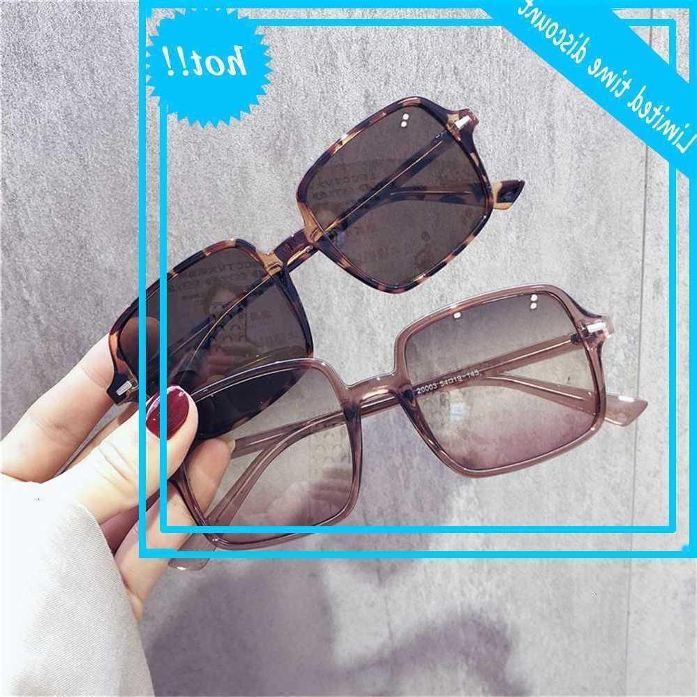 Kadın Kore Moda 2020 Yeni Kare Çerçeve Anti Ultraviyole Gözlük Büyük Yüz Güneş Gözlüğü