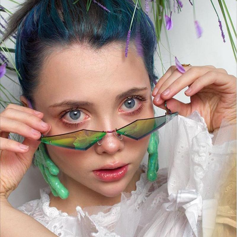 2020 Cat Eye Sunglasses Women Brand Female Sun Glasses Vintage Metal Frame Mirror Ladies Shades Trending Triangle Eyewear