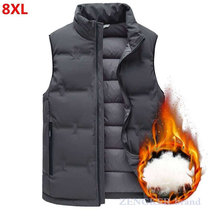 Осень зима новых мужчин плюс размер вниз жилет плюс размер моды случайные стоячим воротником вниз жилет куртка 8XL 7XL