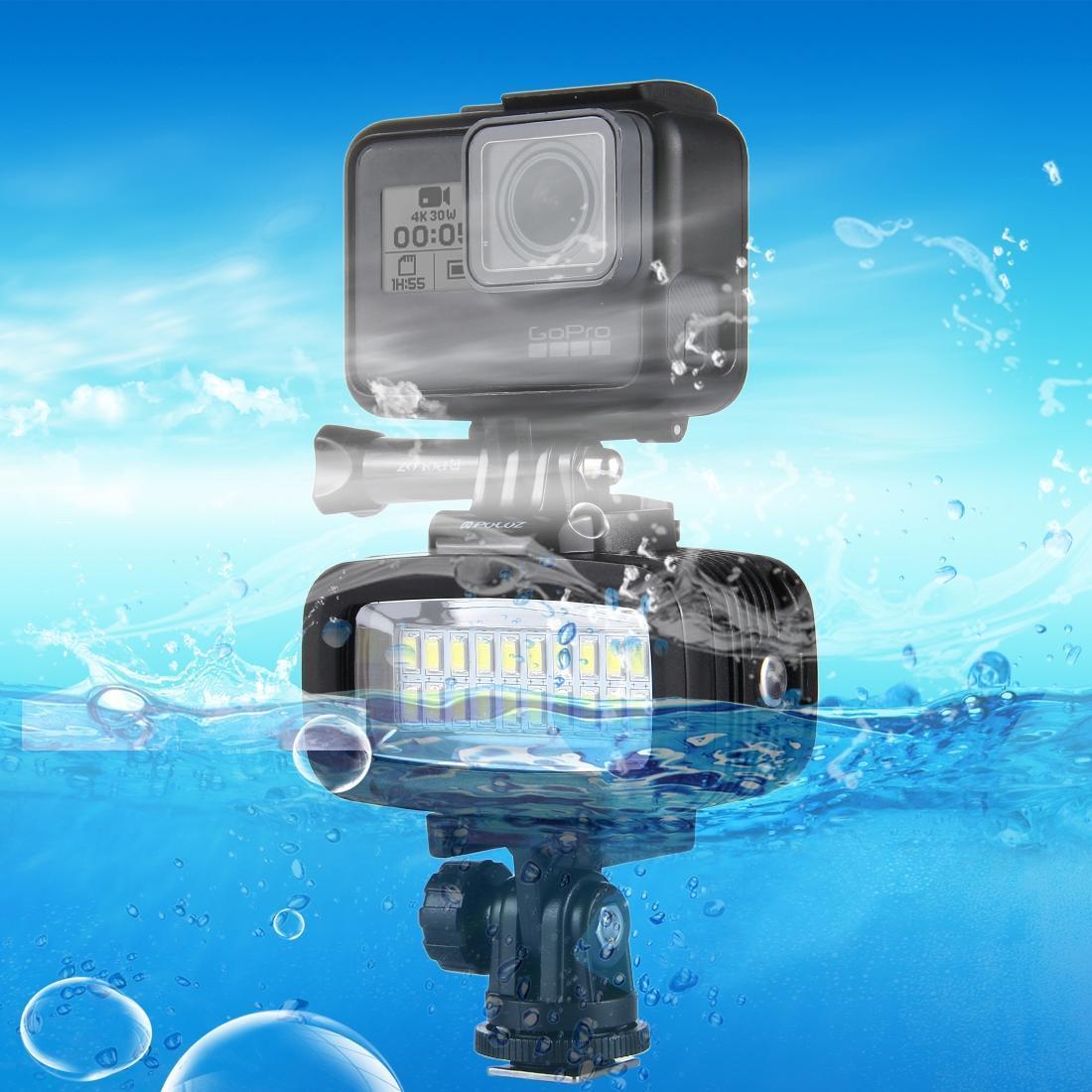 PULUZ 20 LED 40m impermeable IPX8 luz del estudio de video de fotos de luz con el zapato caliente la base del adaptador de liberación rápida hebilla tornillo largo 2 x Filtro