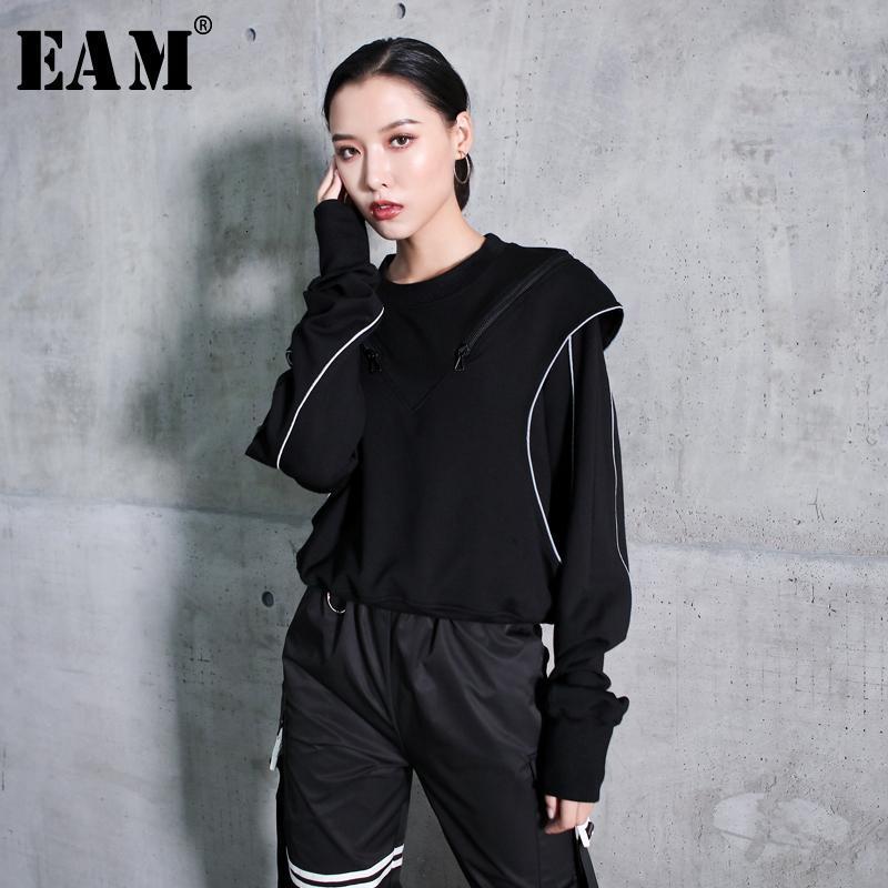 [EAM] Сыпучие Fit Black Line Split Совместный Толстовка Новый раунд шеи длинным рукавом Женщины Большой размер Мода весна осень 2020 1K693