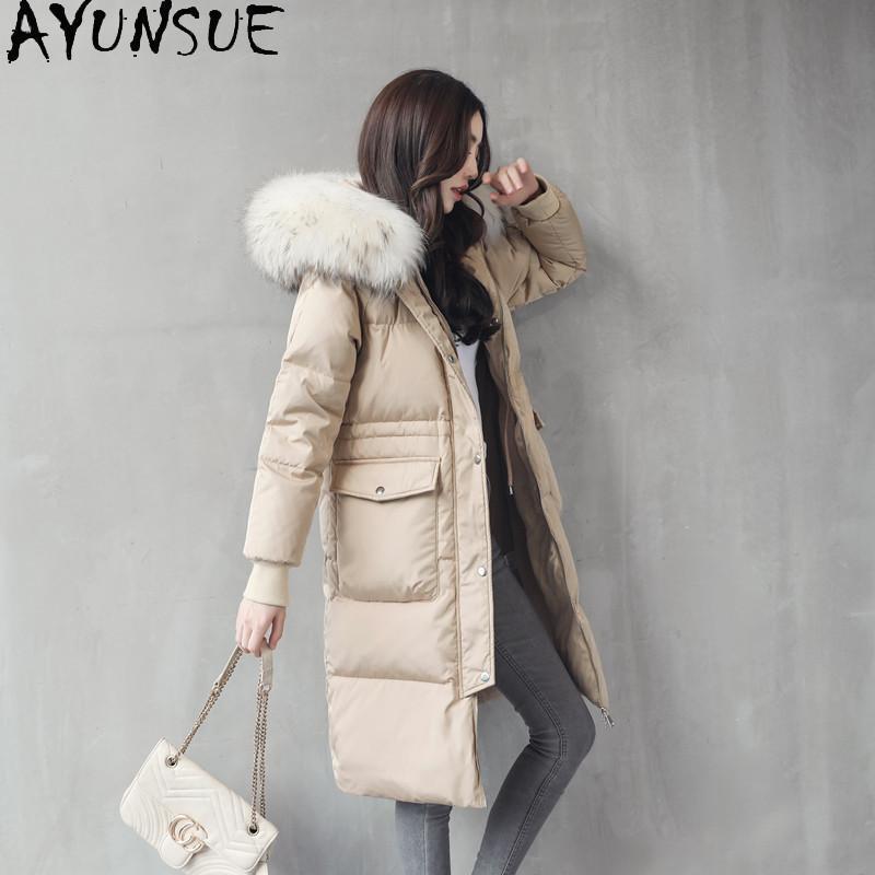 AYUNSUE Kadın Coat 2020 Kış% 80 beyaz ördek ceket Aşağı Kadınlar Giyim Real Rakun Kürk Yaka Parkas Kadın Ceket Casaco
