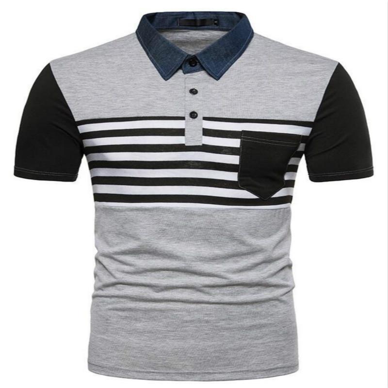 ZOGAA Новое высокое качество Удобная коротким рукавом хлопок Мужские рубашки Бизнес Британский Стиль Casual Полосатый Рубашки