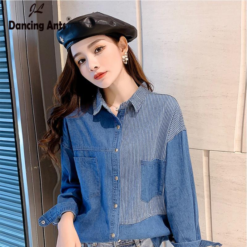 Kot Gömlek Kadın Retro Vintage Kadınlar Bluz Denim blusas Uzun Kollu Patchwork Kadın Jeans En Popüler Basit Dış Giyim Cep
