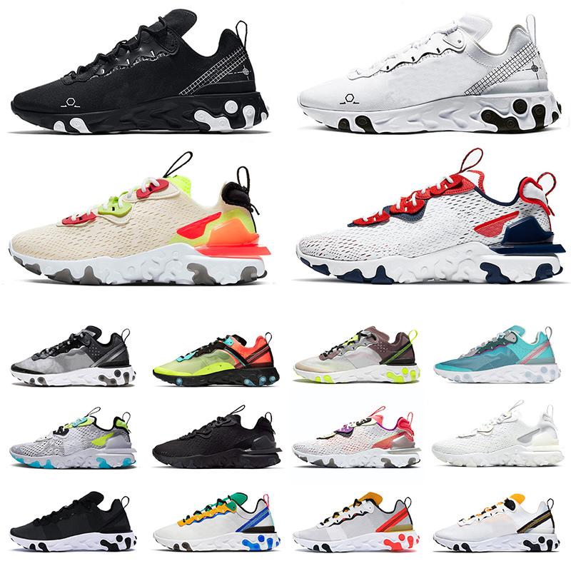 New Arrivals React Vision 2020 React Element 55 87 n354 Type GTX mens running shoes all black white womens sports sneakers EPIC trainers