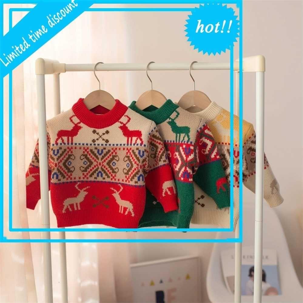 Xmas Winter Girls Boys Truies Kids Baby Pumpkins Trunks Children Christmas Herds Trui Tops Exit S11828