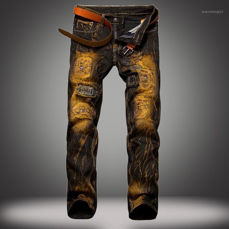 جينز رجالي 1 جيم ثقوب رجالية الأوروبية والأمريكية القديمة ضئيلة الموزعين بالجملة