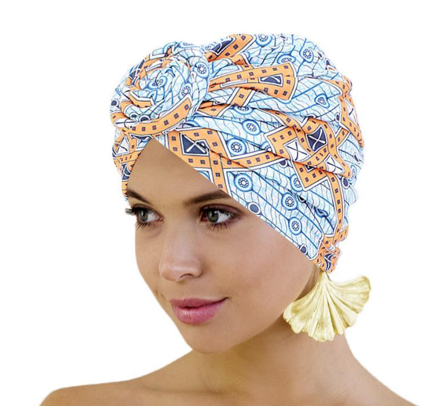 Afrika Desen Headwrap Bonnet Turban Knot Beanie Cap Headwrap Şapka İçin Kadınlar Öncesi Bağlı