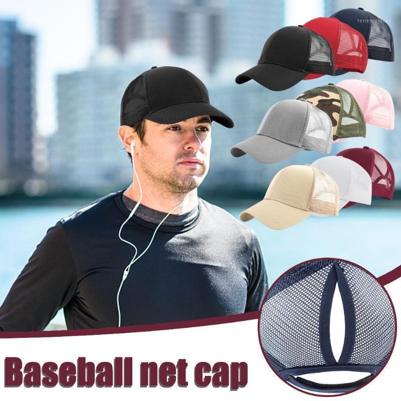 Unisex Fashion Outdoor Baseball Mesh Cap Patchwork Cotton Cap Men Women Open Back Solid Color Sun Hat Casquette 20201
