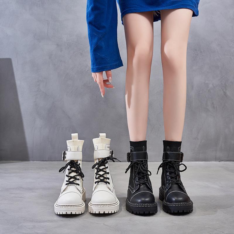 Carregadores fêmeas aumentada dentro dos novos pouco vento moda curtas botas respiráveis na Inglaterra, na primavera e no outono