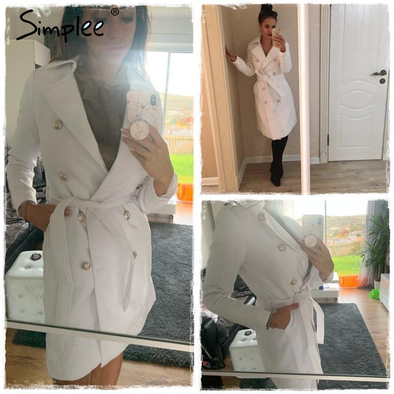 Simplee Vintage с двубортным белым траншеи для женщин Sashes Slim Dange Trench женское зимнее офисное офисное платье Trench LJ201128