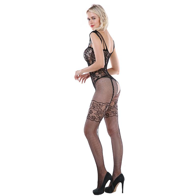 Nouvelle Femme De Design Femme Plus Boodstocking Sexy Transparent Transparent Organe Open Sexy Léopard Costumes Corps Suit Bas Bas Sexe Érotique Lingerie