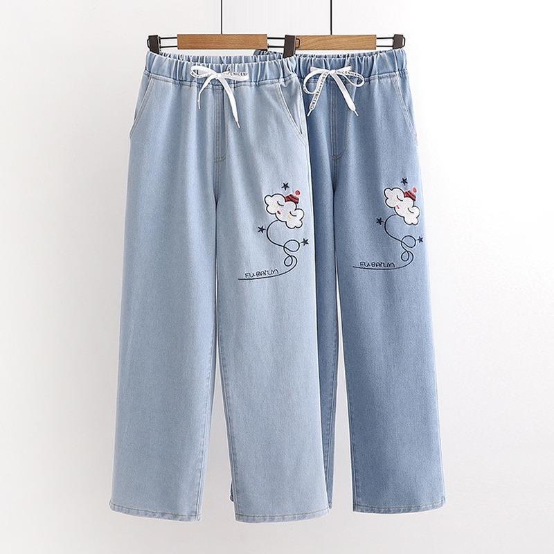 Nuages Cartoon broderie en coton bleu Denim Jeans Femmes Filles Japan Style desserrées 2020 droites Automne Nouveau design Pantalon Kawaii