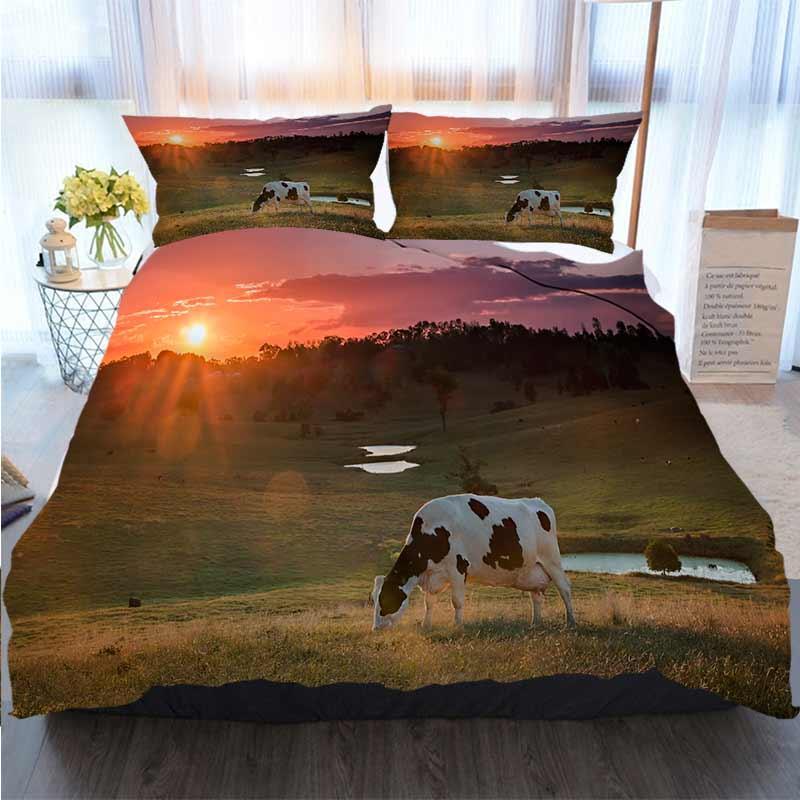 Постельные принадлежности 3 шт пододеяльник Комплекты Молочные коровы пасутся В Sunset Home Luxury Soft Одеяло Утешитель крышки