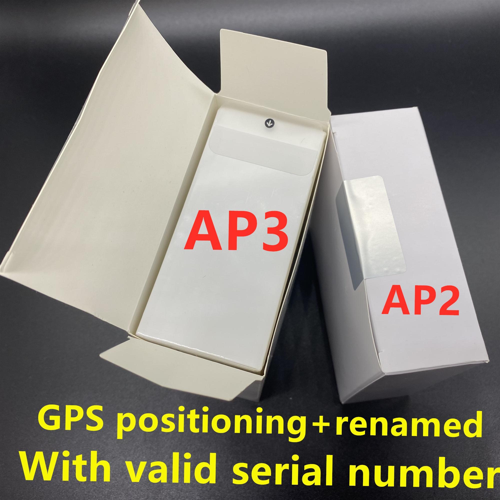 3pcs DHL UPS écouteurs sans puce H1 Gps Rename Air Ap3 pro Ap2 Tws Gen 2 pods fenêtre pop-up Bluetooth Casque épluchage automatique Wirele charge