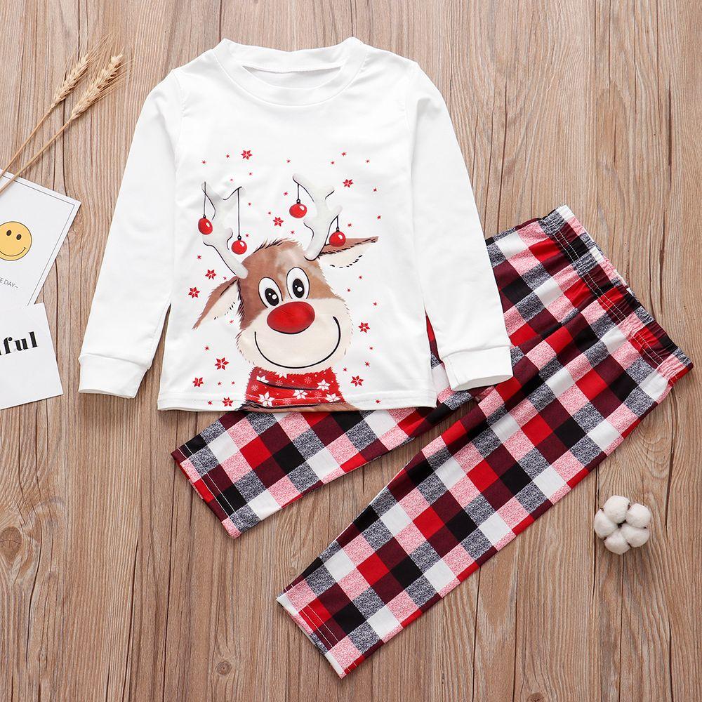 2020 Occasioni Speciali corrispondenza dei cervi adulti Kid Famiglia vestiti top + pants di Natale