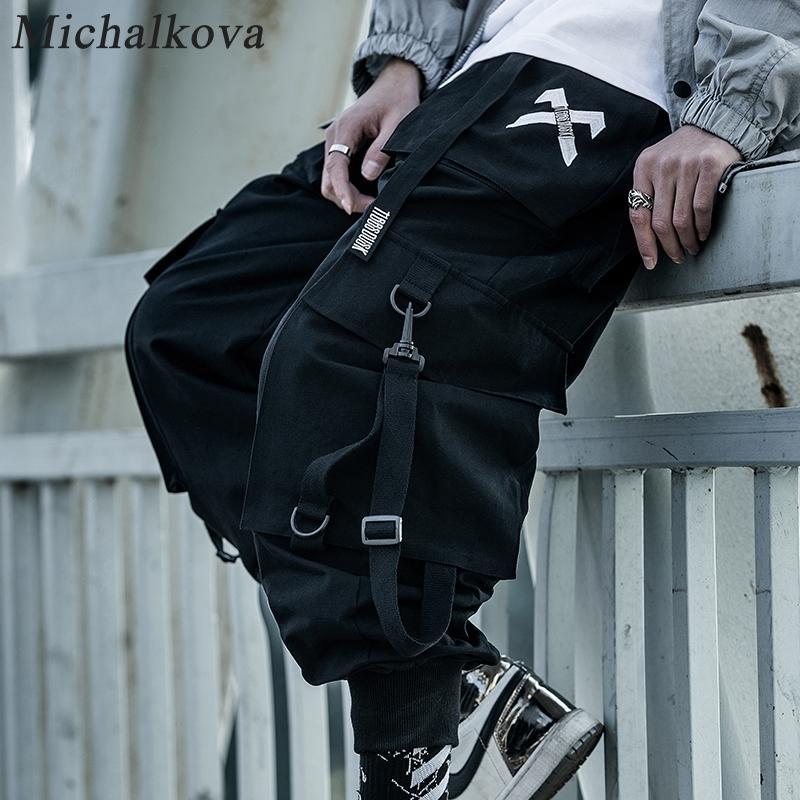 Michalkova Paracaidista Japonés Militar Masculino Black Joggers Mens Hip Hop Pockets Ankel Cargo Pants Men Streetwear Pantalones Casual 201110