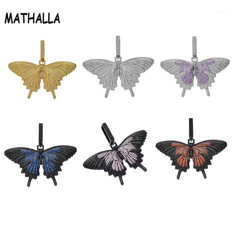 Кулон ожерелья Mathalla мода замороженные Multicolor Butterfly Micro Pave Cubic Zircon Charm Hip Hop Ожерелье для подарков1