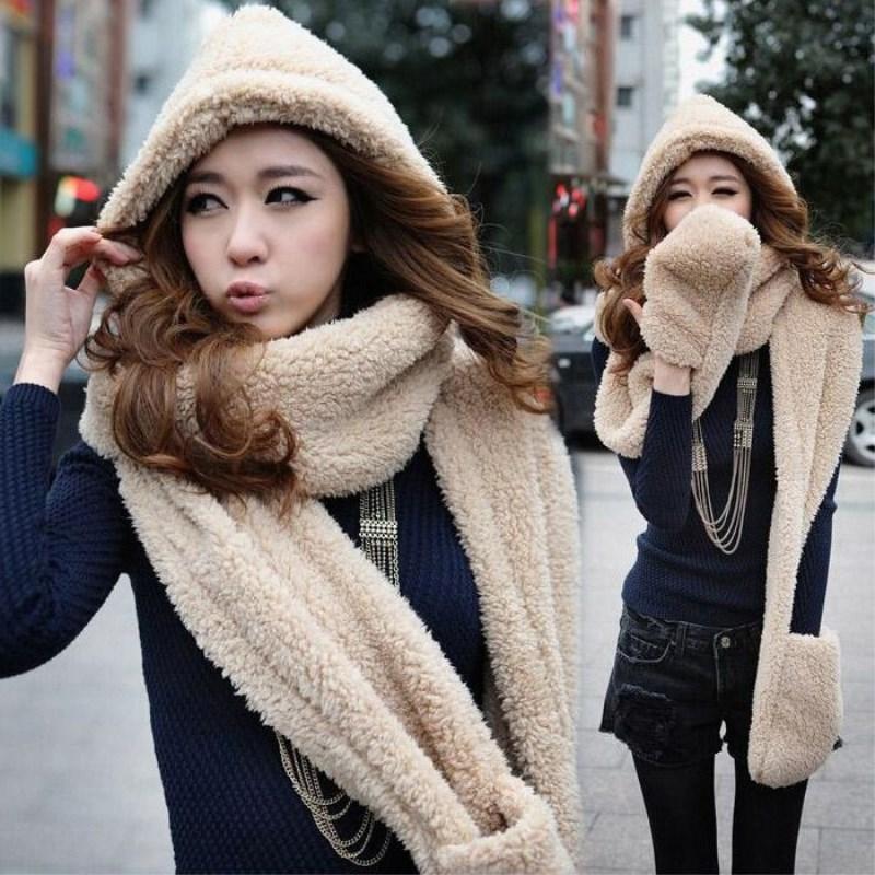 2020 Mujeres largo del sombrero de la bufanda del casquillo Dé la pieza caliente Moda Guante con capucha bufanda de la piel del collar del regalo del invierno lindo de la felpa estola del abrigo del mantón