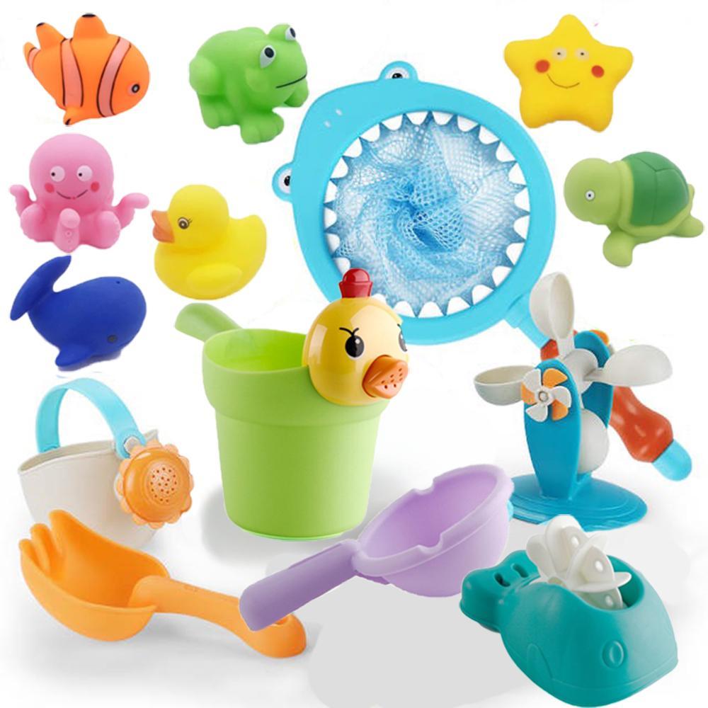 8PCS del baño del bebé Juguetes Pesca Redes de goma de juguete que nada la playa del juego del aerosol de agua de baño para niños niño niños Educación Juguetes 1019