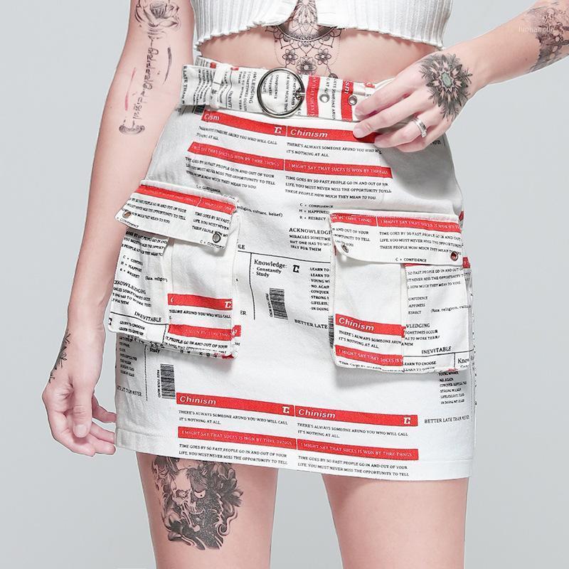 Paris Girl Digital Stampato Mini Gonna Street Knit Newspaper Modello Personalità Lato grande tasche Gonne sottili Womens1