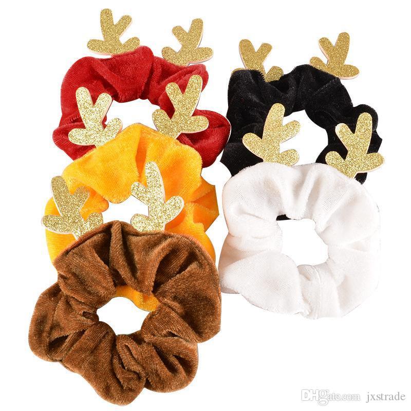 Weihnachtsfrauen-Mädchen-Haar Scrunchy Ring elastischer Haar-Bänder Hirschhorn Dickdarm- Sport Dance Scrunchie Soft-Haarreif