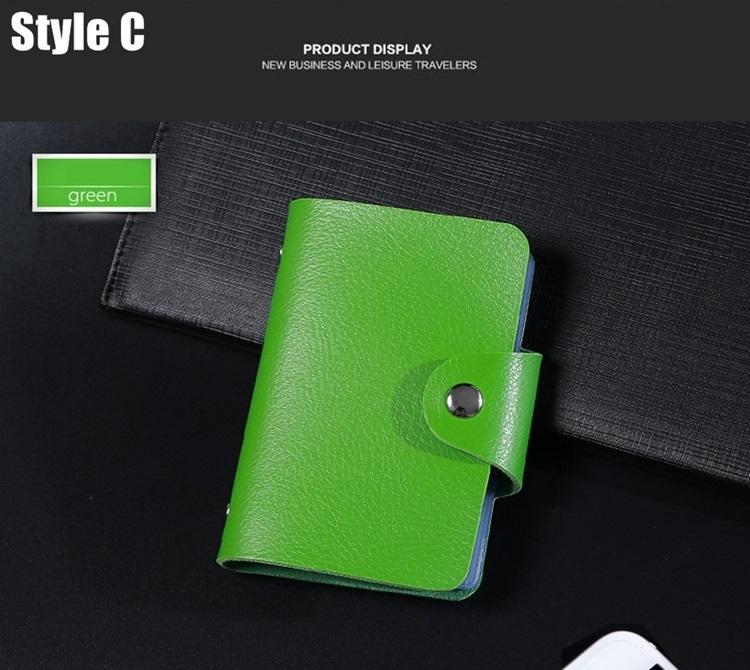 New PU Função Couro 24 Bits cartão de titular Business Case Homens Mulheres Crédito Passaporte Bag ID Passaporte Carteira