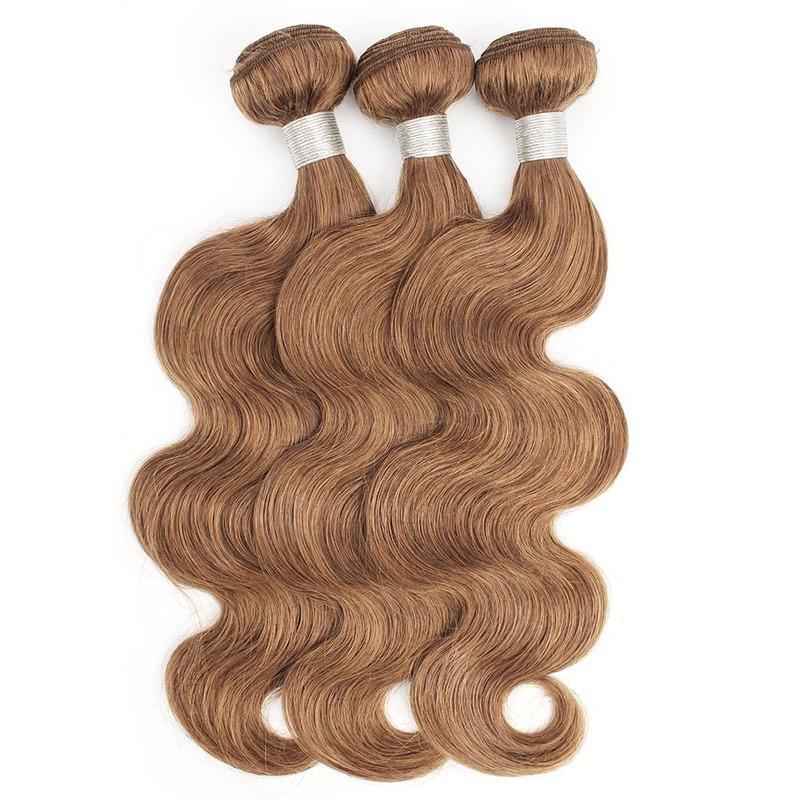 Couleur # 30 Bonds de cheveux Medium Auburn 16 à 24 pouces Vague corporelle pré-colorée Non Rémy Extension de cheveux humaine brésilienne