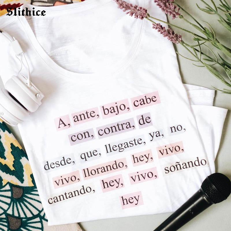 Fashion Spanish T-shirts Women Casual Tees Funny Letter Printed Graphic t-shirt Lady top Gift mujer camisetas