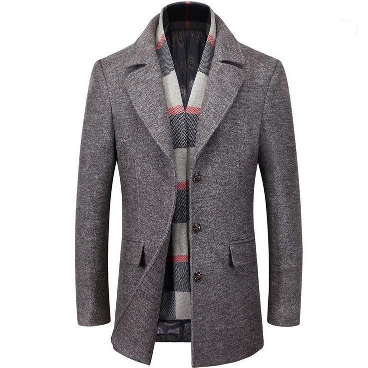 Winter Neue Männer mit dickem Tuch Mantel Mantel Absatz Wolle Wolle Tuch Staub wächst in Freizeitbekleidung1