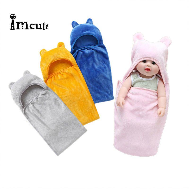 Flannel 72x97cm Newborn Baby Cotton Blanket Swaddle Cute Cartoon Toddler Winter Warm Sleeping Bags Sleep Sack Baby Stroller Wrap 201201