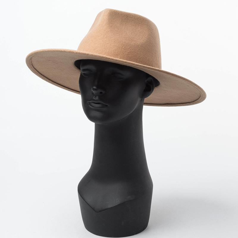 على نطاق واسع الكلاسيكية بريم Porkpie قبعة فيدورا الجمل الأسود 100٪ الصوف قبعات الرجال النساء قابل للعصر قبعة الشتاء ديربي الزفاف كنيسة جاز القبعات 201109