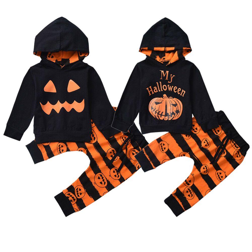 Focusnorm Хэллоуин младенческий ребенок мальчики для девочек одежды для одежды тыква с капюшоном с капюшоном с капюшоном 2 шт. 201126