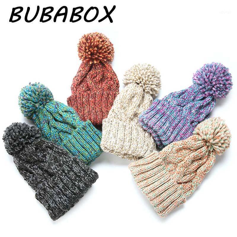 Cappellini da maglieria in maglia a maglia spessa invernale con berretto di pompon Cap1