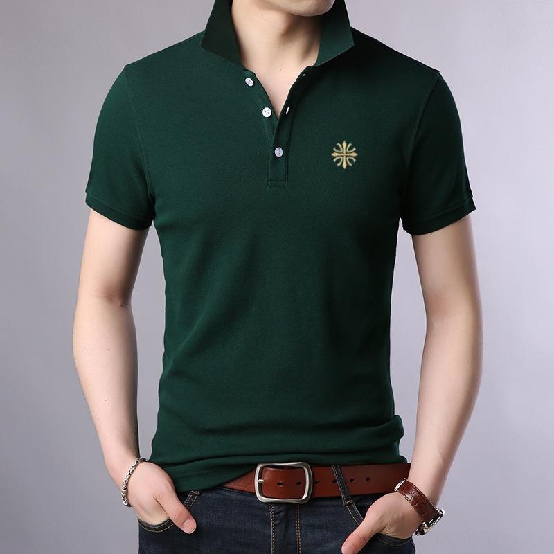 Nova do verão de manga curta dos homens T- Paul Brasão Polo T-shirt superior lapela fina superior a metade tendência da luva dos homens pai WNz63
