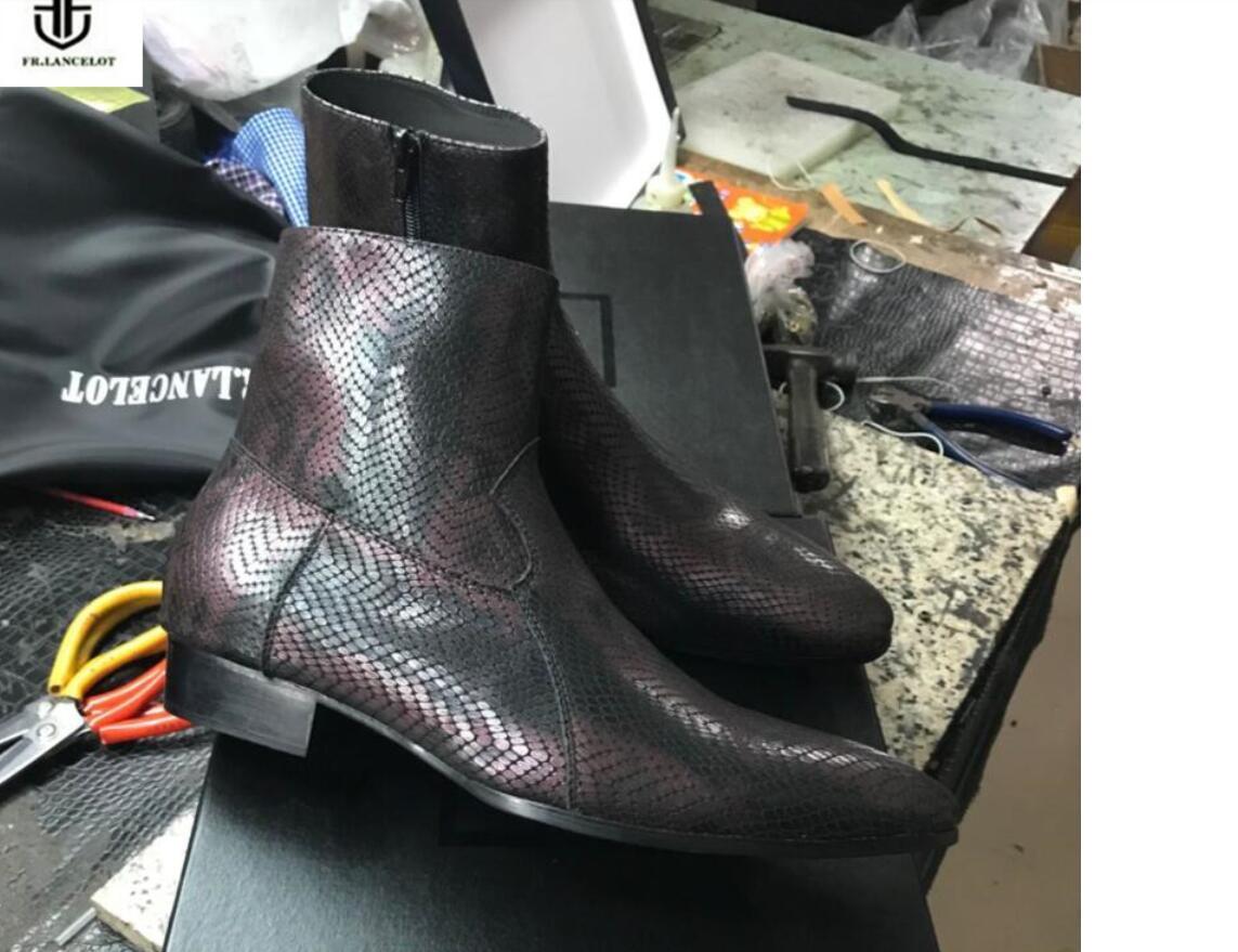 2020 neue Stiefeletten High-End-Schlangendruck Lederstiefel Vintage Style Men Short Boots Reißverschluss Mischungsfarbe Männer Stiefel